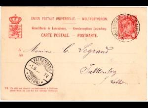 Luxemburg 1900, K2 Mondorf-Les-Bains auf 10 C. Ganzsache n Falkenberg Lothringen