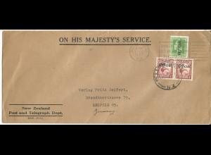 Neuseeland 1937, 1/2+Paar 1d Official auf Dienst Brief v. Wellington n. Leipzig