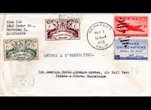 Guadeloupe 1946, 1+15 Fr. Nachsende Frankatur auf US Brief v. Berkely m. 2x5 C.