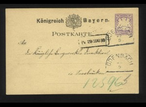 Bayern 1880, HKS ODENBACH auf Ganzsache v. Kronenberg n. Saarbrücken. #1210
