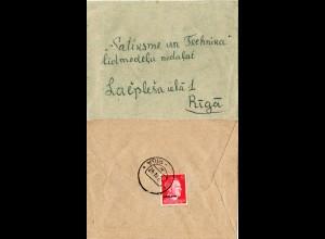 Ostland 1942, 12 Pf. rücks. auf Lettland Brief m. aptiertem Bahnpost Stpl. -RIGA