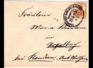DR 1917, Bahnpost Stpl. Frankfurt-Karlsruhe-Basel klar auf Brief m. 15 Pf.