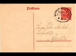 DR 1918, Bahnpost Stpl. WERDAU-MEHLTHEUER klar auf 10 Pf. Ganzsache