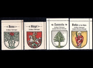 Auma, Bürgel, Tannroda, Vacha i.d. Rhön, 4 Thüringen Sammelmarken