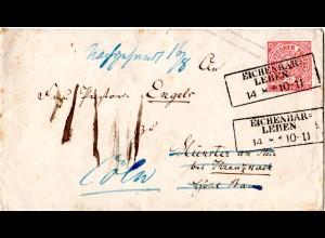 NDP, 1 Gr. Ganzsache Brief v. R3 EICHENBARLEBEN. Nachsendung n. Köln.