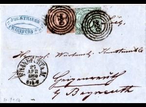 Taxis 1860, 3+6 Kr. auf Brief v. Frankfurt n. Bayern