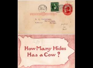 USA 1914, 1 C. m. perfin auf 1 C. Ganzsache m. Zudruck v. Wilmington n. Norwegen