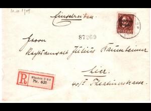 Bayern 1919, portorichtige EF 50 Pf. auf Orts Einschreiben Brief München #2472