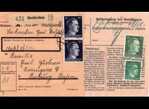 DR 1942, Paar 80 + rs. 5+30 Pf. auf Paketkarte v. SEEKIRCHEN Österreich
