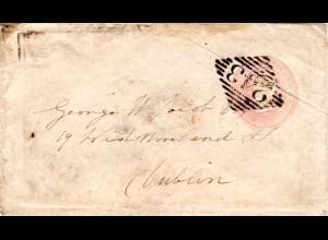 GB 1845, 1d Ganzsache Brief m. klarem Irland Stpl. 243 nach Dublin.