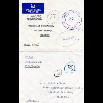 GB, 2 Diplomatenpost Briefe, 1x v. Griechenland m. Stpl. British Embassy Athens