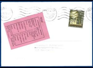 Island 1986, Retour Etikett auf Orts Brief v. Reykjavik. Rücks. 2 Stempel. #218
