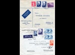 Türkei 1947/48, 2 Luftpost Briefe i.d. Tschechoslowakei