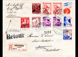 NL 1933, Zeppelin Schweiz Fahrt, Reko Zuleitung ab Amsterdam, Abwurf Bern