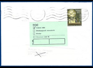 Island 1986, grünes Retour Etikett auf Inlands Brief v. Reykjavik. #292