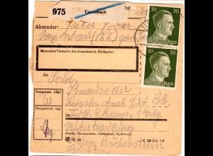 DR 1944, MeF 2x 30 Pf. auf Ostmark Paketkarte v. Taxenbach n. Unterdrauburg.