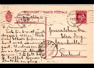 Norwegen P61, 25 öre Ganzsache 1922 v. Kristiania n. Finnland