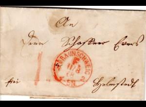 NDP 1868, roter Franco Stpl. BRAUNSCHWEIG N2 auf kl. Brief n. Helmstedt