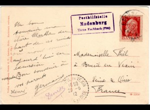 Bayern 1912, Posthilfstelle Madenburg Taxe Eschbach (Pfalz) auf AK m. 10 Pf.