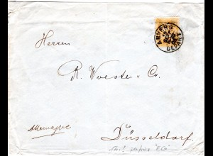 Belgien 69, 1 Fr. orange m. perfin E Co, EF auf Brief v. Anvers n. Deutschland.