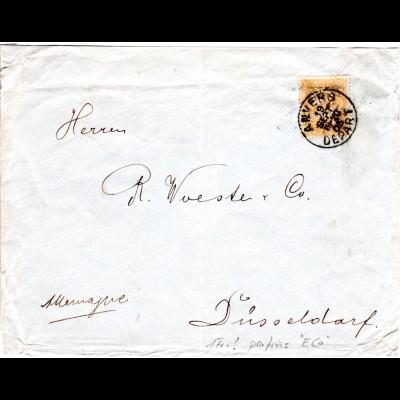 Belgien 69, 1 Fr. orange m. perfin E Co, EF auf Brief v. Anvers n. Deutschland.
