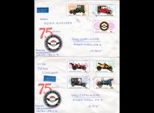 Ungarn, 7 Werte Oldtimer Automobile, kpl. Ausgabe auf 2 Briefen n. Schweden.