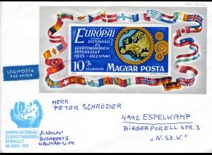 Ungarn 1975, KSZE Block auf Luftpost Brief n. Schweden.