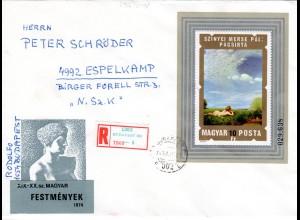 Ungarn 1974, Malerei / Gemälde Block auf Reko Brief n. Schweden