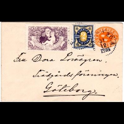 Schweden 1904, 2 öre auf 2 öre Ganzsache Brief m. Tuberkulose Marke