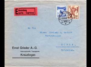 Schweiz 1942, 30+60 C. auf Express Brief v. Kreuzlingen n. Bulgarien.