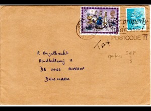 GB, 1/2d m. perfin u. 8d auf Brief v. Stockton Cheshire n. Dänemark.
