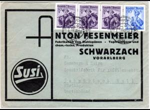 Österreich 1956, 4 Marken auf Susi Reklame Umschlag v. Schwarzach Vorarlberg