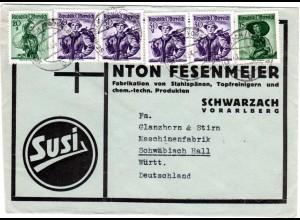 Österreich 1956, 6 Marken auf Susi Reklame Umschlag v. Schwarzach Vorarlberg