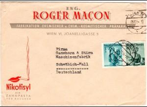 Österreich 1954, 2 Marken auf Nikotisyl Zahnpasta Reklame Umschlag v. Wien