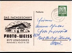 BRD 1962, Photo Weiss Lenggries, illustrierte Karte m. 10 Pf.