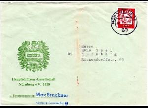 Haupt Schützen Gesellschaft Nürnberg, illustrierter Reklame Umschlag m. 20 Pf.