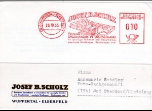 BRD 1955, attraktiver Firmen Werbestpl. Scholz auf Karte v. Wuppertal Elberfeld