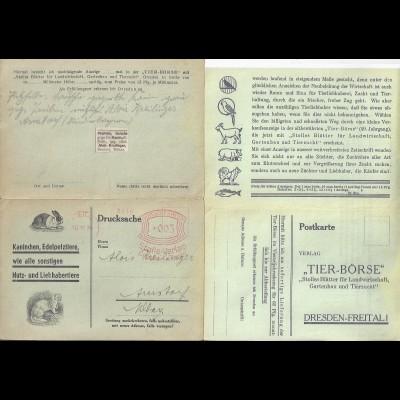 DR 1934, Freital (Dresden) Freistempel auf Tier Börse Antwort Faltkarte. #2250
