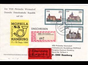 DDR U2, 20+35+80 Pf. Ganzsache Brief in portorichtiger Verwendung v. Wermsdorf