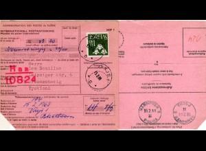 BRD 1968, HANNOVER PSCHA uu rücks. auf Internationaler Postanweisung v. Schweden