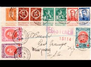 Belgien 1915, 10 Marken auf Reko Brief d. Exil Regierung in Le Havre Frankreich