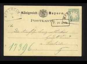 Bayern 1880, HKS Herxheim auf Ganzsache n. Saarbrücken. #1213