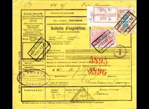 Belgien 1917, 50 C.+2 Fr. Eisenbahn Marken auf Paketkarte v. Liege n. Norwegen