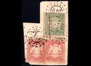 Bayern, oMR 619 Welchenberg 3x auf Briefstück m. 1+3+3 Kr.