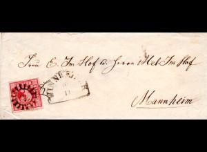 Bayern, MR 589 WINNWEILER auf kl. Brief m. allseits breitrandiger 3 Kr.