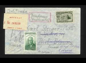 Uruguay Schweiz 1953, Drucksache Einschreiben Luftpost Brief v Montevideo. #1216