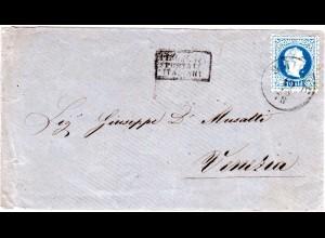 Österreich Levante 1878, 10 S. auf Brief v. SMIRNE m. Schiffspost n. Italien