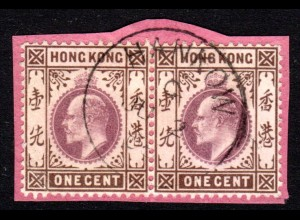 Hongkong, Paar 1 C. auf Briefstück m. British China Stpl. HANKOW