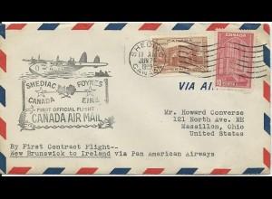 Shediac Canada-Foynes Ireland 1939, PAA Erstflug Brief. #2821