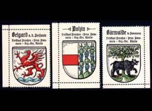 Preussen, Wappen Belgard, Polzin, Bärwalde, 3 Pommern Sammelmarken